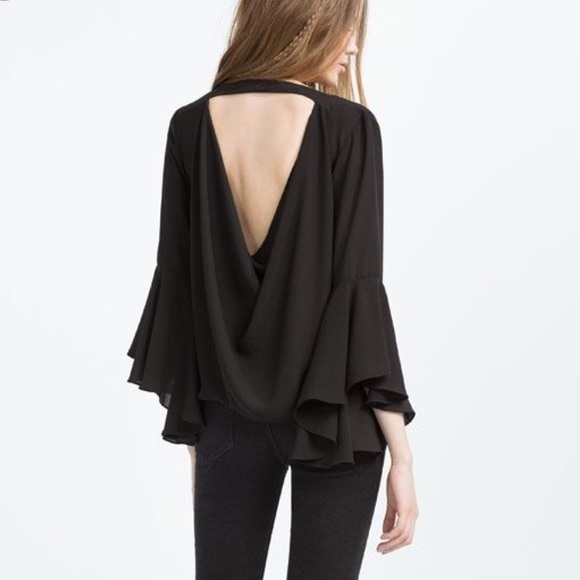 322ac3da07123e Zara Tops | Black Bell Sleeve Low Drape Back Blouse Top S | Poshmark